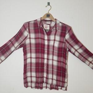 Tops - Plaid bottom-up shirt